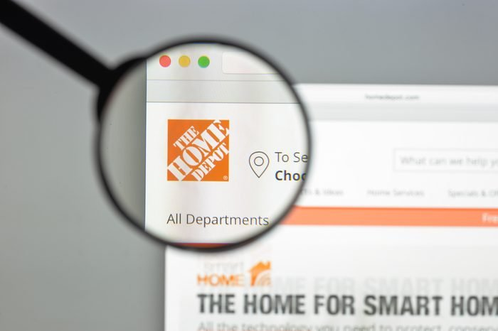 Milan, Italy - August 10, 2017: Homedepot.com website. It is an American home improvement supplies retailing company that sells tools, construction products, and services. Home depot logo visible.