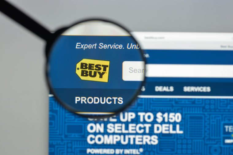 Milan, Italy - August 10, 2017: Bestbuy website homepage. It is an American multinational consumer electronics corporation. Bestbuy logo visible.