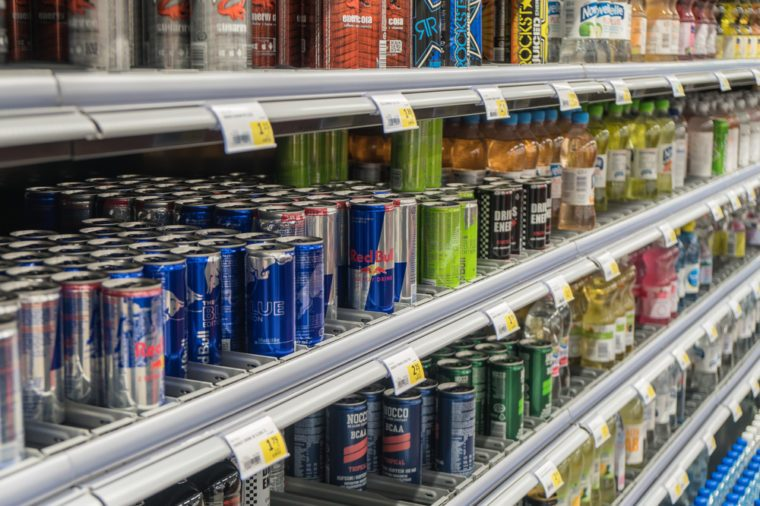 energy drinks shelf
