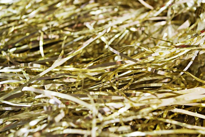 Background of gold long tinsel