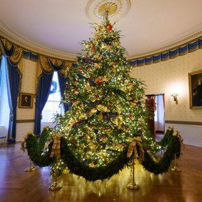 blue room christmas tree white house