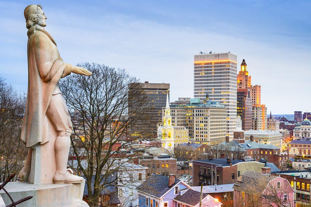 Providence, Rhode Island city skyline from Prospect Terrace Park.