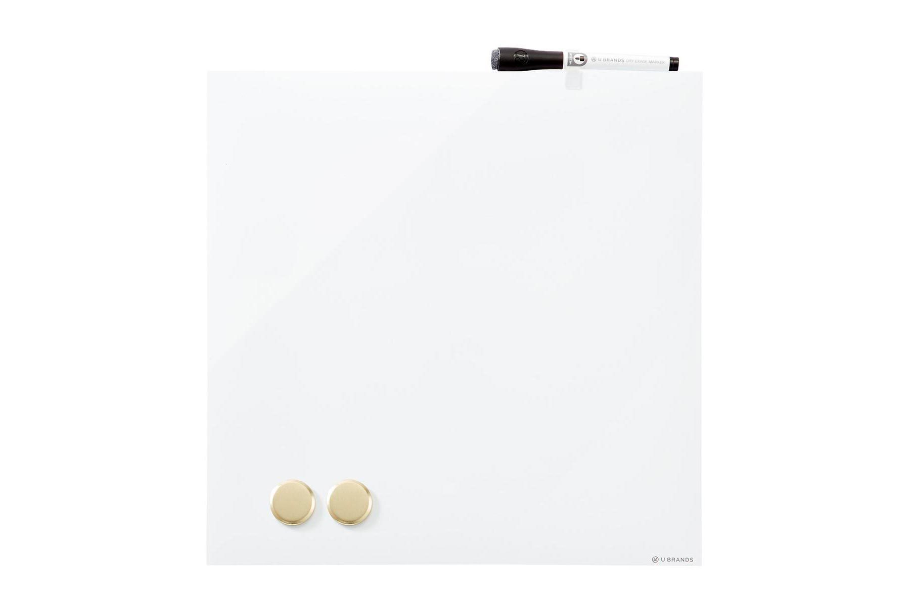 square dry erase board with marker and two magnets from the container store