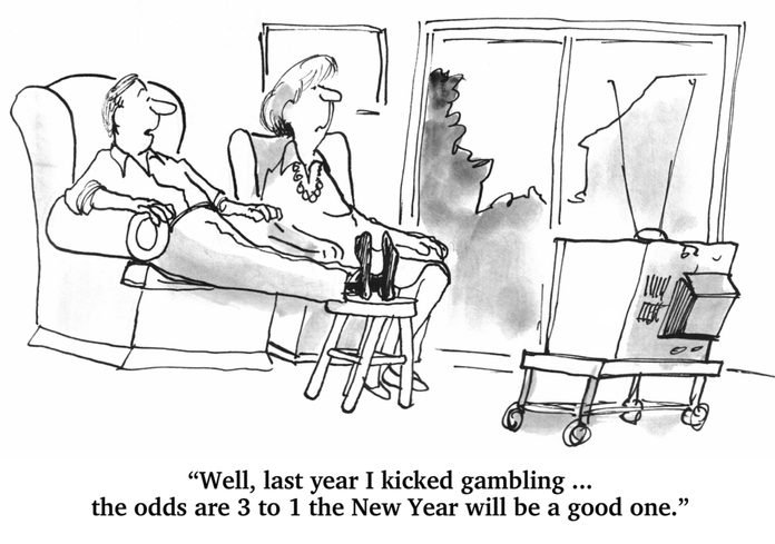 """man and woman watching tv in their living room; text reads, """"Well, last year I kicked gambling... the odds are 3 to 1 the New Year will be a good one."""""""