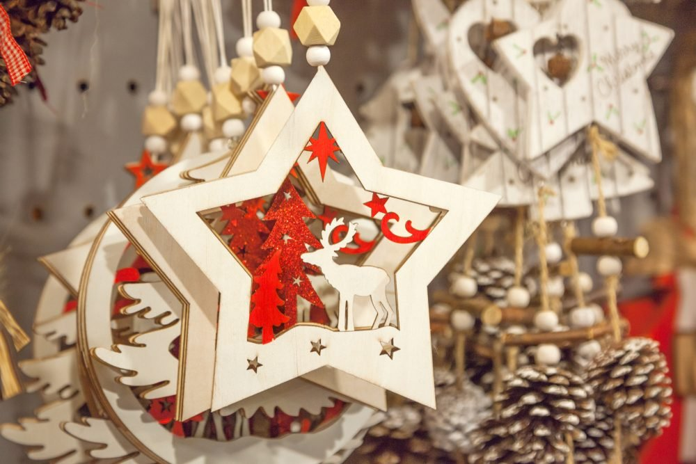 Christmas decorations at the market
