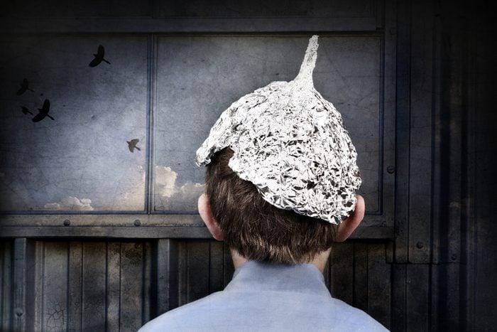 Boy in a tin foil hat