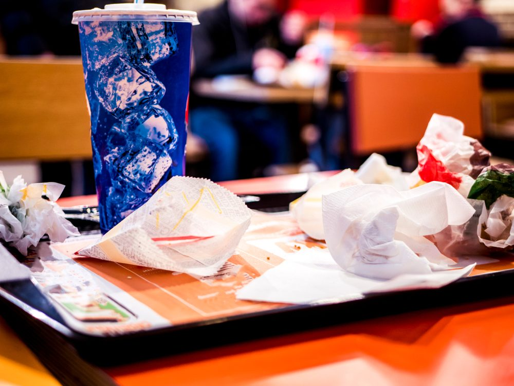 waste of food in the fast food restaurant