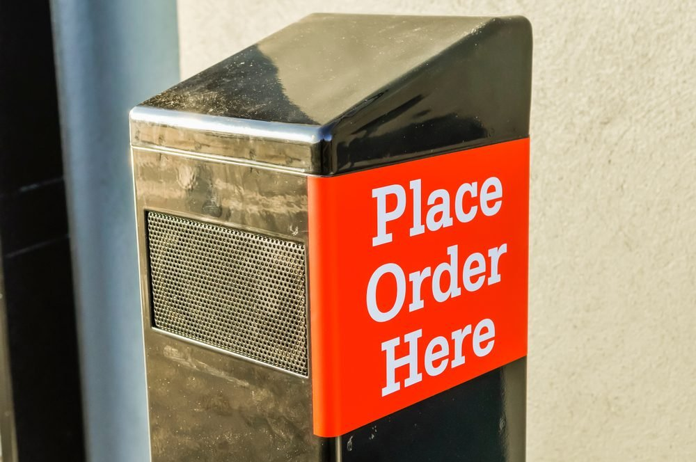 Order placement point at a drive-thru fast food restaurant.