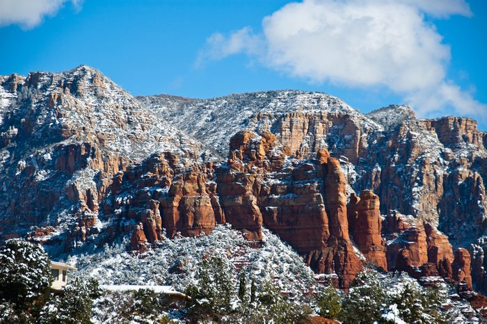 Snow covered Sedona Arizona Red Rocks