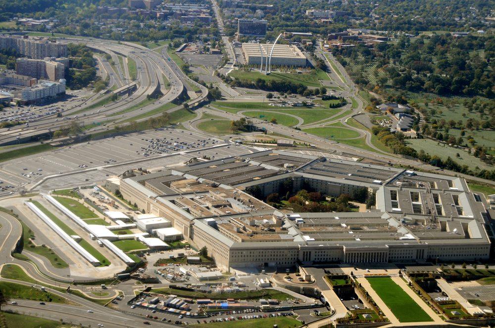 Aerial of the Pentagon, the Department of Defense headquarters in Arlington, Virginia, near Washington DC