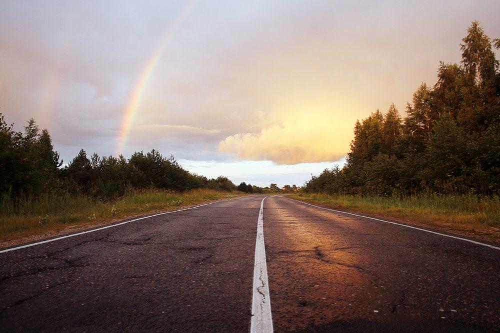 road rainbow trees sky summer