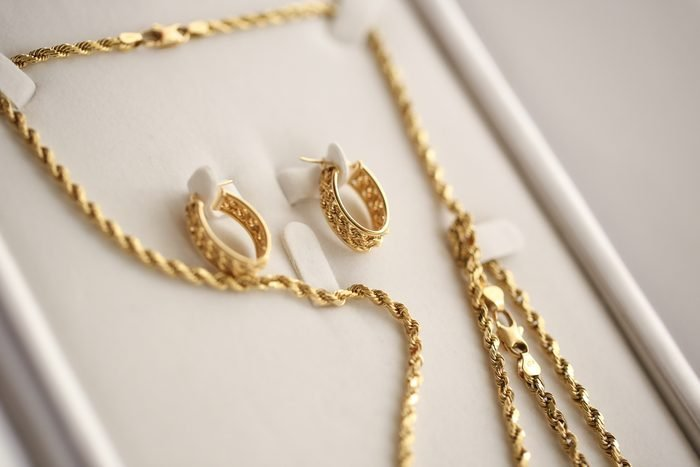 Golden earrings and necklace