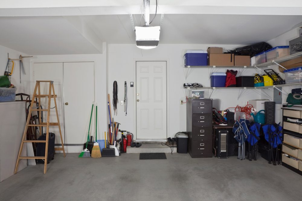 Clean two car garage in a normal suburban home.
