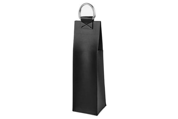faux leather black wine tote