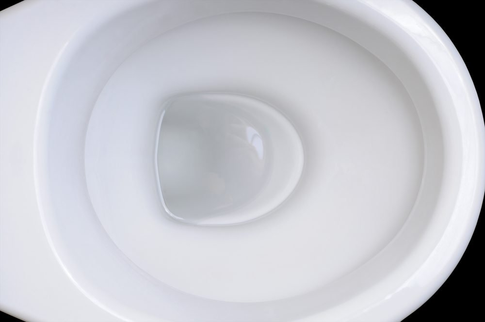 Detail of clean white toilet bowl on black background.