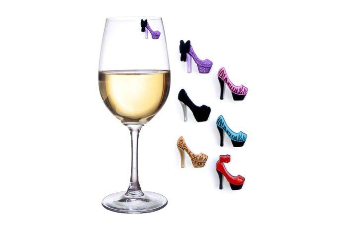 high heel wine charms