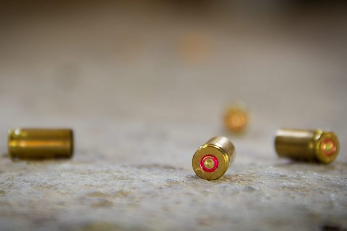 9 mm bullet shells. It's lying on the ground