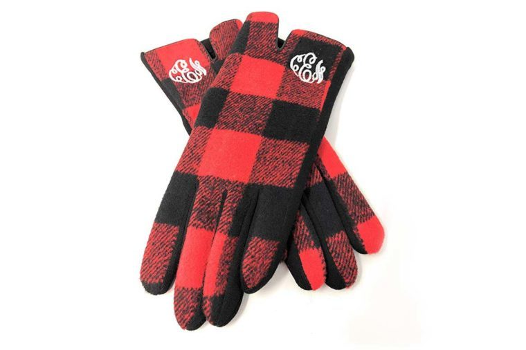 plaid monogrammed gloves