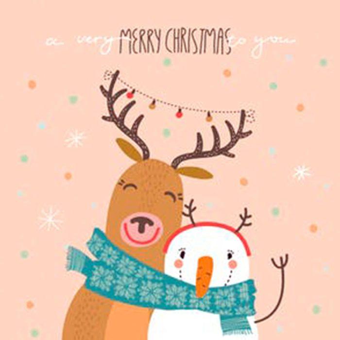 Reindeer and snowman christmas card