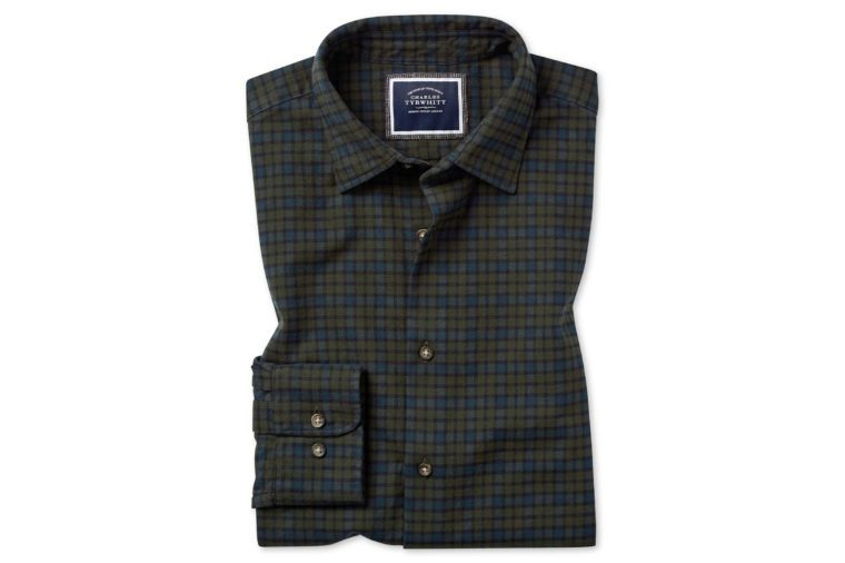 green check winter flannel shirt
