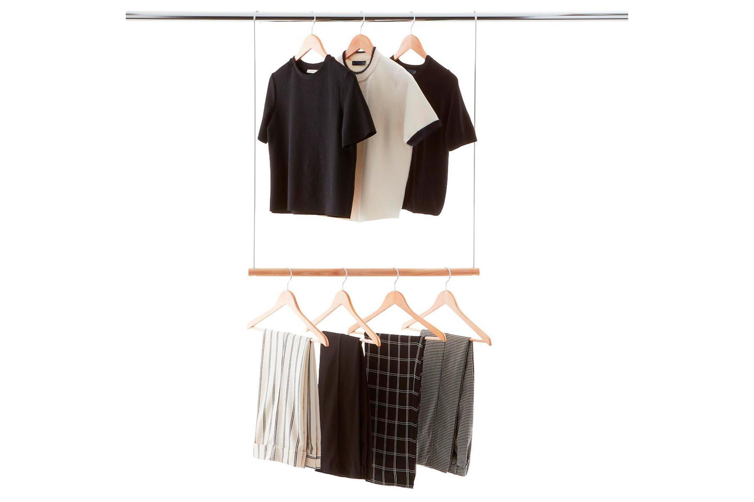 Double hang closet rod