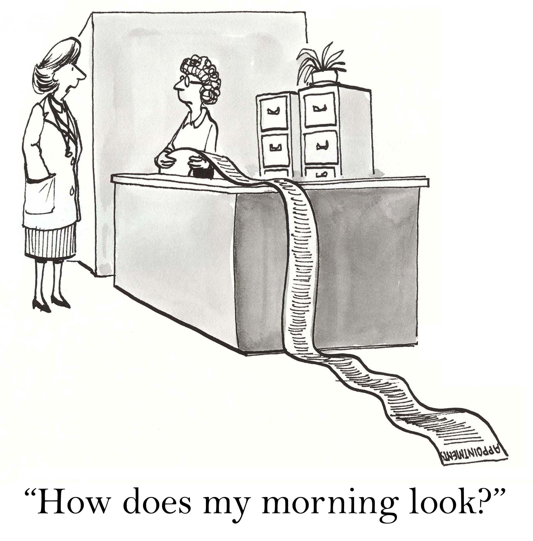 busy female doctor cartoon