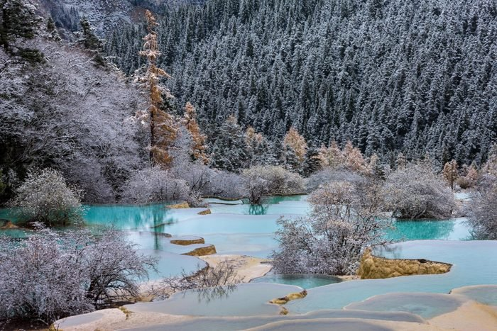 Huanglong, national park, province Sichuan, UNESCO, world nature heritage, sinter terraces.