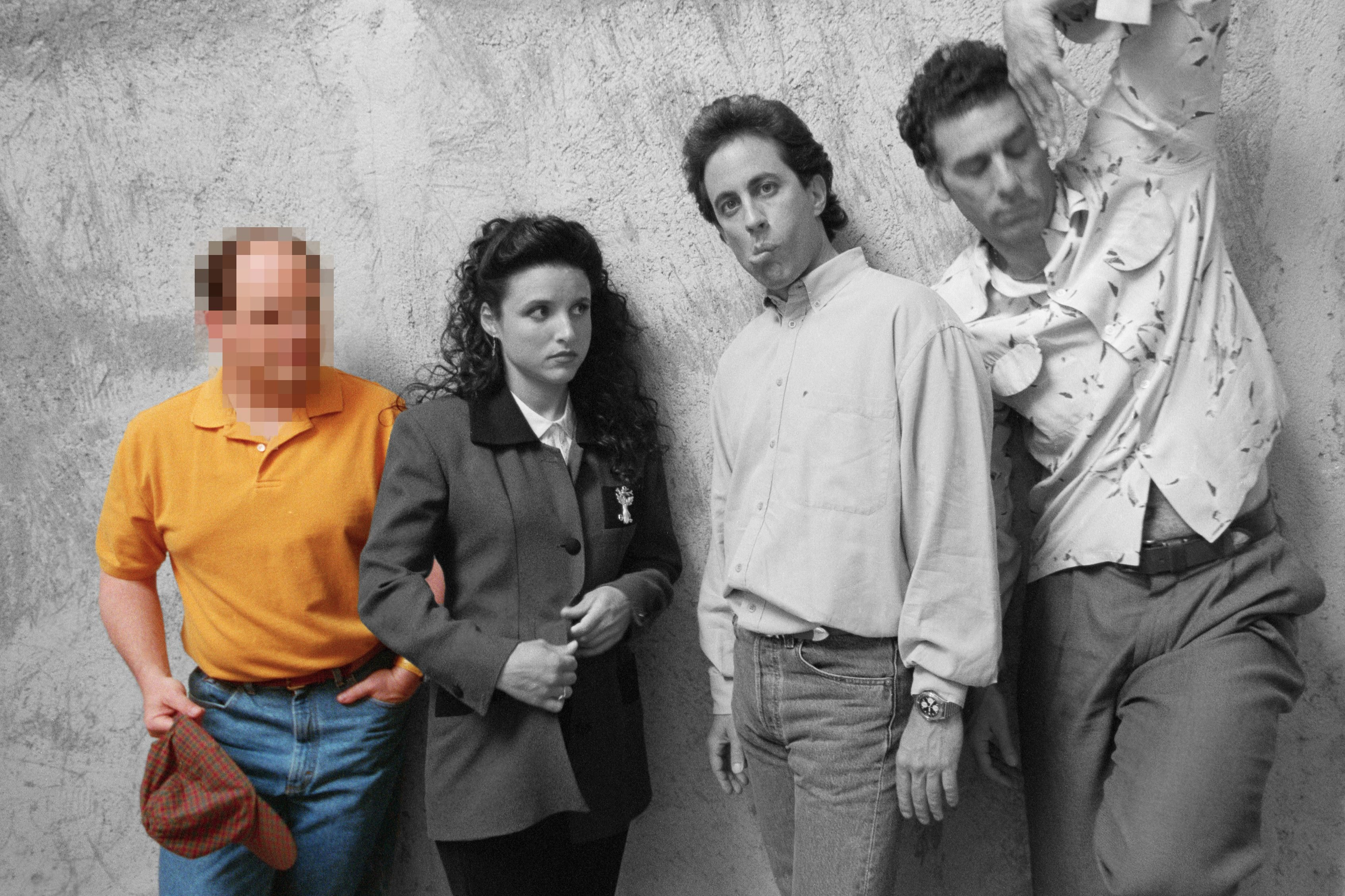 seinfeld cast with only george in color with blurred face