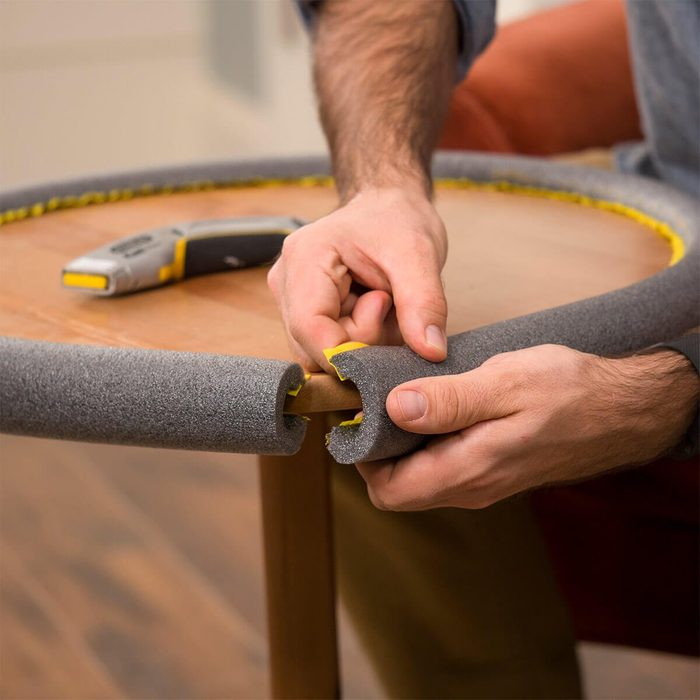 foam pipe insulation to babyproof a table