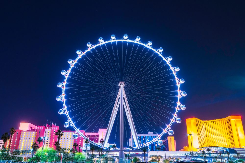 beautiful high roller at night with city skyline,las vegas,nevada,usa.