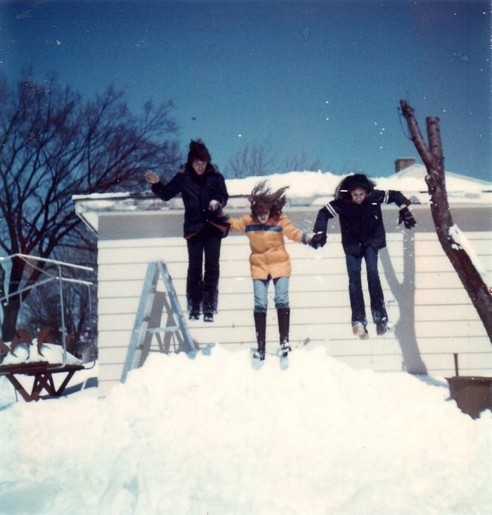 This picture is from winter 1975. I thought it would be fun to jump 1970s;female teenager;girl;house;snow;snow bank;the seventies;child;home;jumping;sister;teenage girl;winter;action;Caucasian;daytime;retro;children;exterior;family;front view;full body;jump;residence;teenager;three people;day;movement;vintage;3 people;building exterior;full length;residential;sibling;teen;color image;day time;moving;vertical;adolescent;outside;three;colour image;motion;3;building;young woman;group;outdoor;young women;young adult
