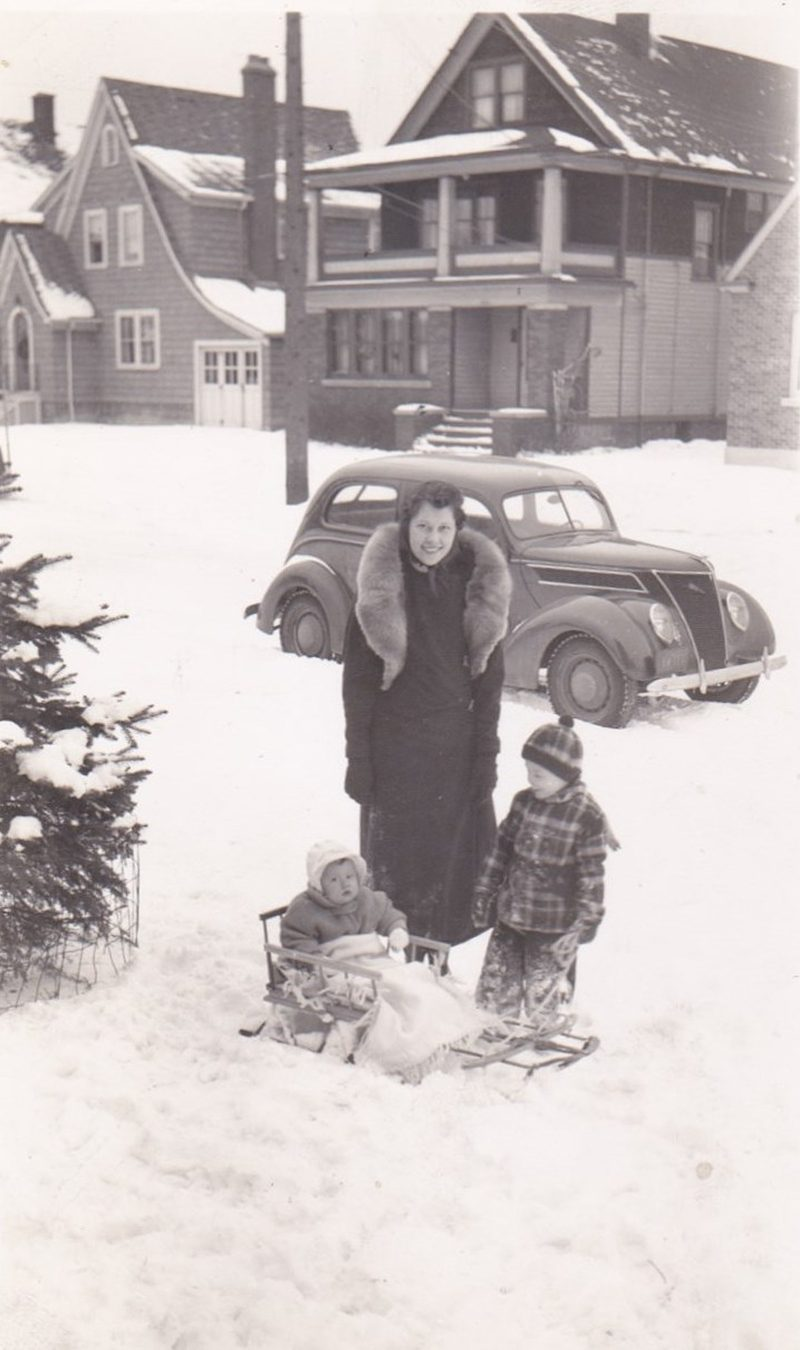This is Mom; Wanda Wojcik; and my brother Roger and sister Audrey in front of the first family home in Niagara Falls; New York. It is winter 1938-39. Dad Bruno is the photographer and so is rarely in any of the family pictures.
