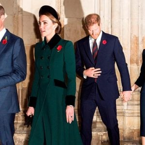 Princes William and Harry with their wives