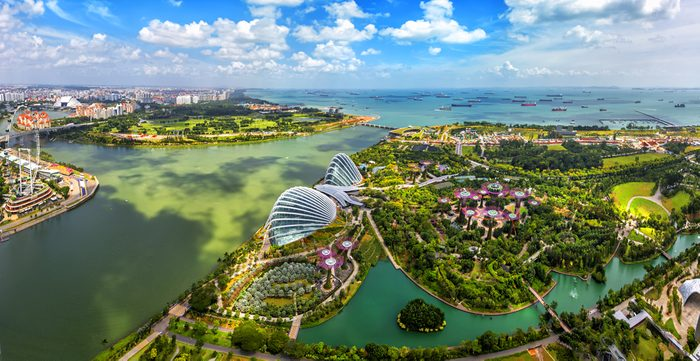 Bird eyes view of Singapore City skyline in Singapore.