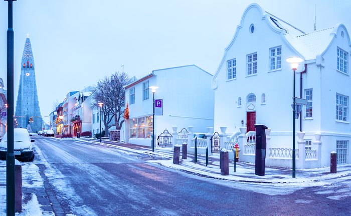 Old street in central Reykjavik at twilight, Iceland. in the background church of Hallgrimur.
