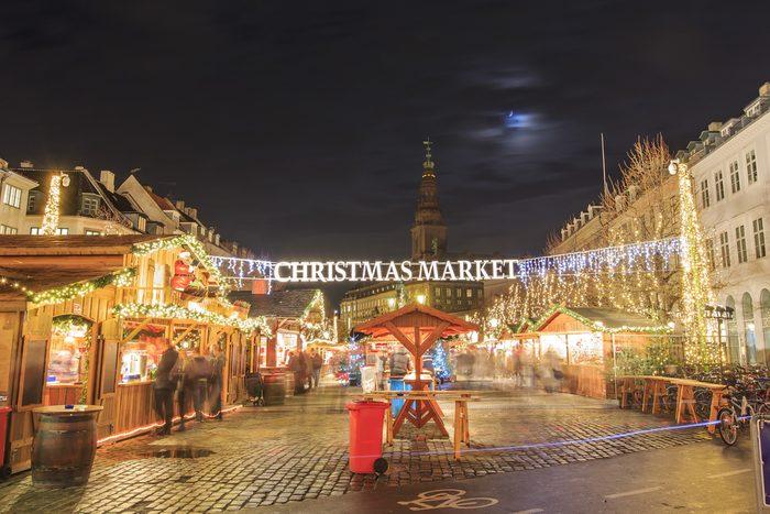 Christmas Market near Stork Fountain of Copenhagen at night