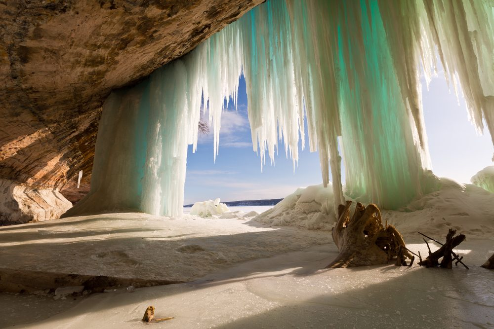 Grand Island ice curtains on Lake Superior, near Pictured Rocks National Lakeshore in Munising Michigan