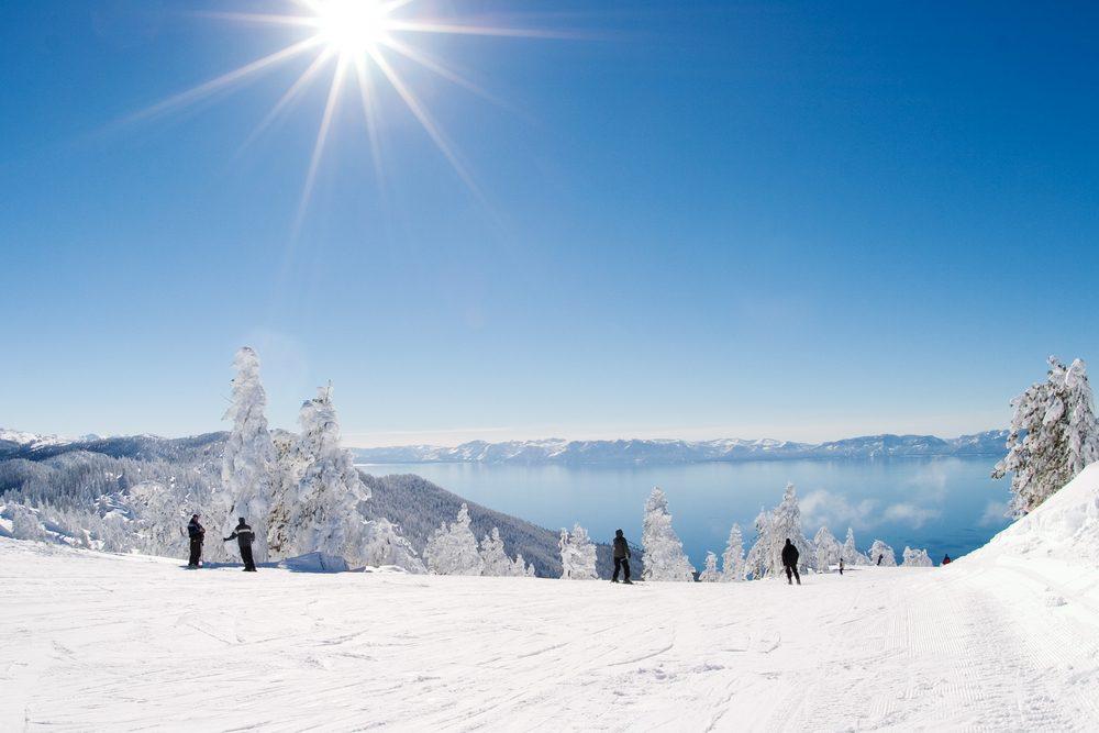 Skiers at Diamond Peak, Lake Tahoe