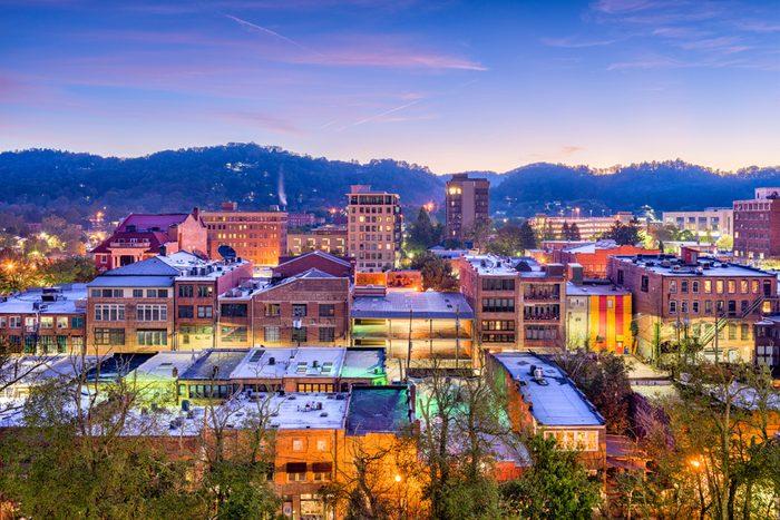 Asheville, North Carolina, USA downtown skyline.