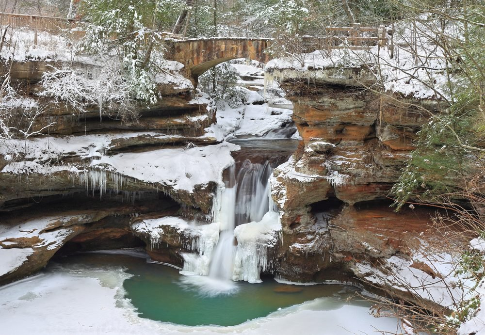 Old Man's Cave Upper Falls at Hocking Hills State Park, Ohio in winter.