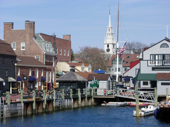 The view of Newport city and the old harbour (Rhode Island).