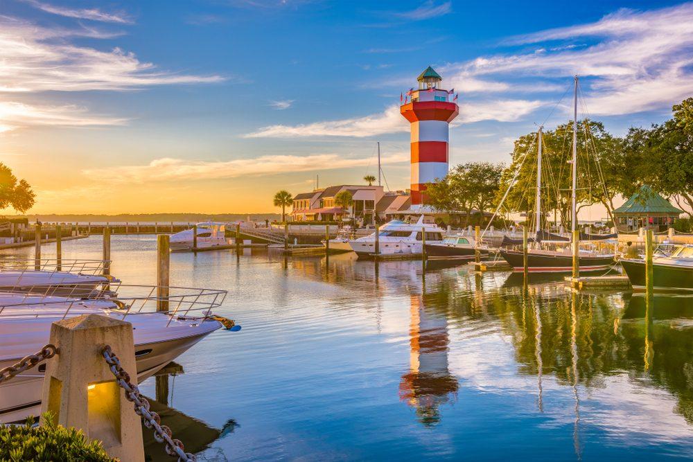 Hilton Head, South Carolina, lighthouse at dusk.