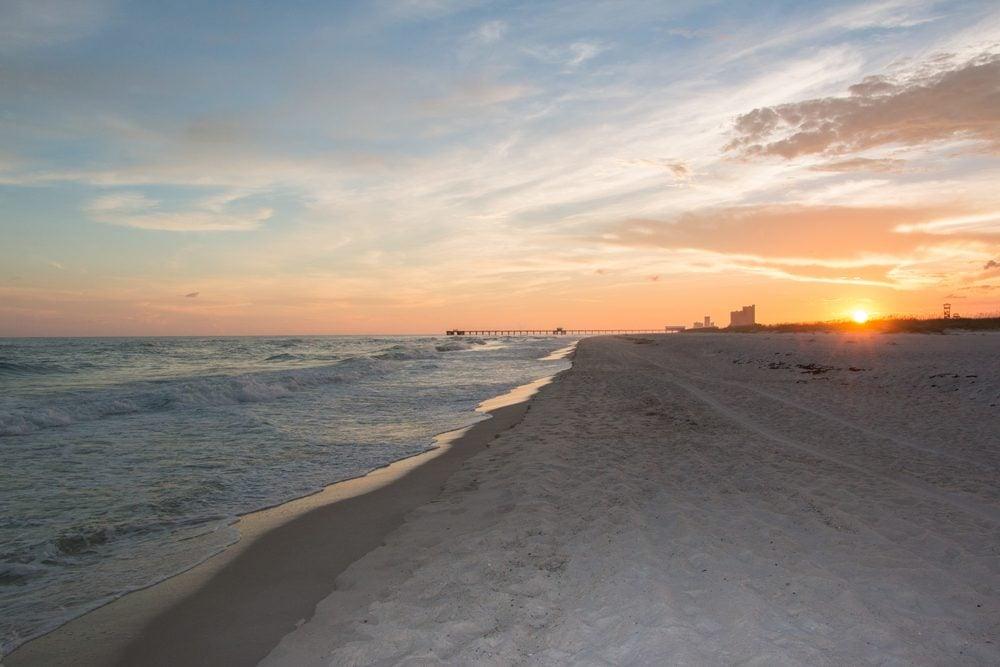 beautiful sunset at gulf shores beach alabama