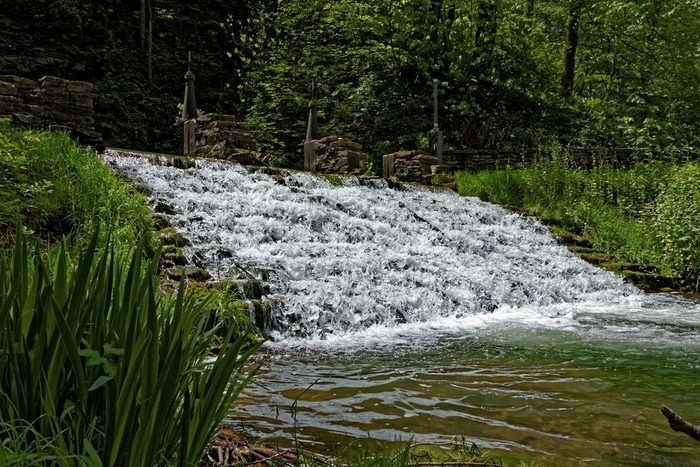 The Siewer's Spring waterfall is a terraced waterfall that is a popular tourist attraction. Fishermen can often be found lining the banks.