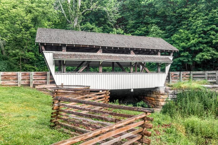 Built in 1901, Rock Mill Covered Bridge crosses the headwaters of the Hocking River in Fairfield County near Lancaster, Ohio