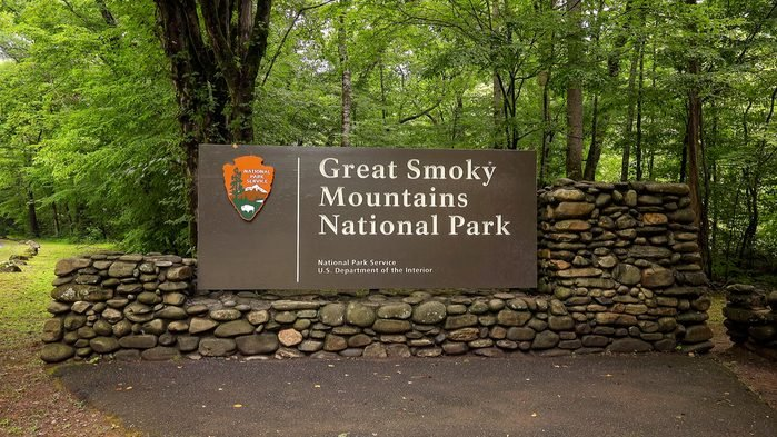 Great Smoky Mountains National Park entrance sign in forest