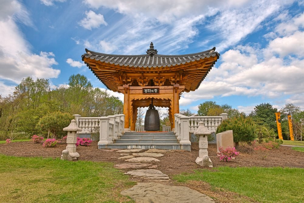 Korean Bell Garden landmark & scenery from Meadowlark Gardens in Vienna, Virginia (USA). HDR composite from multiple exposures.