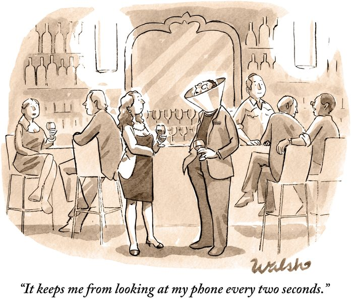 """at a bar, a man wearing a dog cone and a woman are talking, """"it keeps me from looking at my phone every two seconds."""""""