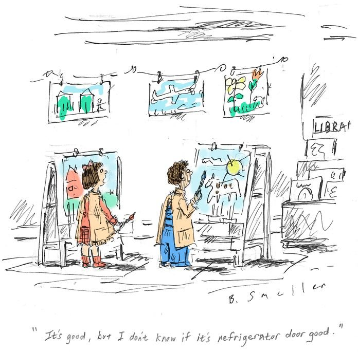 """two students in art class; text reads, """"it's good, but i don't know if it's refrigerator door good."""""""
