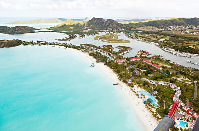 View from a helicopter to Jolly Beach and Jolly Harbor in Antigua.